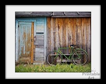 Bike Art, Bicycle Art, Rustic Photography, Bike Print, Art Printables, Printable Photography, Old Shack, Bedroom Print, Farm Prints