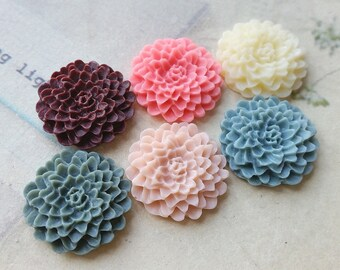 6 Pieces of 22 mm Assorted Colour Resin Chrysanthemum Flower Cabochons (.ag)(zzb)