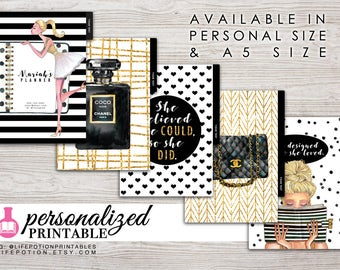 Printable Planner Dividers - A5 or Personal Size - Personalized - Set of 5 - Design: Goldie V2