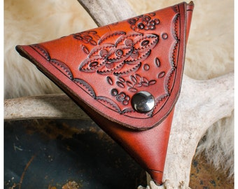 Stamped leather coin purse