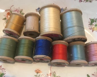 Lot of 10 vintage wooden spools, Sewing thread wood spools, Talon