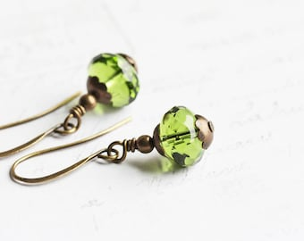 Small Olive Green Bead Earrings on Antiqued Brass Hooks, Green Dangle Earrings, Czech Glass Jewelry