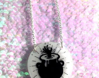 Cauldron Necklace - Circle, Halloween, Spooky, Witch, Hand