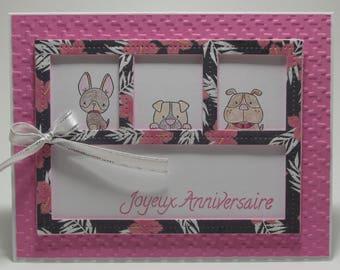 Birthday card - 3 small dogs