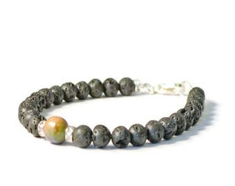 Essential Oil Diffusing Bracelet, Natural Lava Stones & Fire Agate, Aromatherapy Jewelry