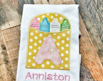 Crayon Box Alphabet Shirt - Back to School Shirt - Custom School Shirt - Art Craft Shirt - Custom Preschool Shirt