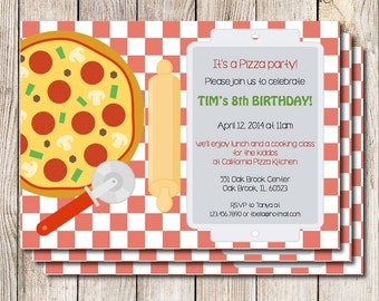 Pizza party invitation, pizza birthday party, printable pizza party, cooking party, gender neutral birthday party, printable invitation