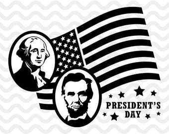 President's Day, Tshirt, SVG, Silhouette, Abraham Lincoln and George Washington dxf,T-Shirt Decal, US Presidents, Printable,Cricut,ST-054