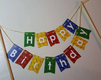 "Cake Bunting, ""Linking Blocks"", Primary colors, Happy Birthday, Cake Banner, Cake Topper"