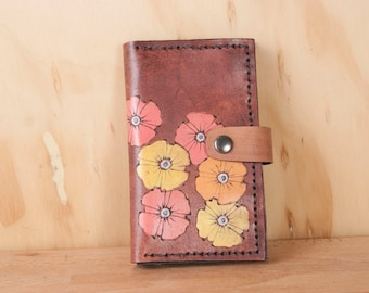 Small Wallet with Coin Compartment - Womens Wallet - Poppy Garden pattern with flowers in yellow, orange, pink and antique mahogany