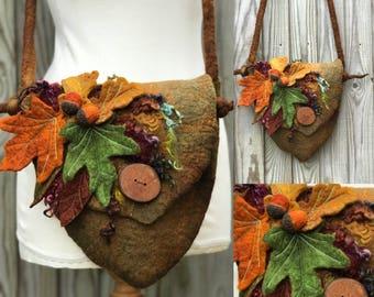 Leaf Felted Purse- Faerie bag-leaf Fairy felt Bag -Felted Fairy Bag - messenger Bag - Shoulder bag- purple bag-fantasy-larp