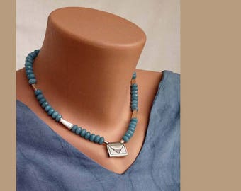 Blue beaded necklace,Jade necklace with 925silver erengraved pendent,unique handmade silver beads,Modern ethnic jewelry,Statement  necklace.