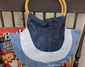 Recycle Handmade One of a Kind Design Jeans Bag