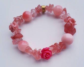 Child's Bracelet, Cherry Quartz Bracelet, Flower Bracelet