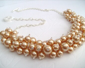 Pearl Beaded Necklace, Cluster Necklace, Bridal Jewelry, Champagne Gold Pearl Bridal Jewelry, Chunky Statement Necklace, Bridesmaid Gift