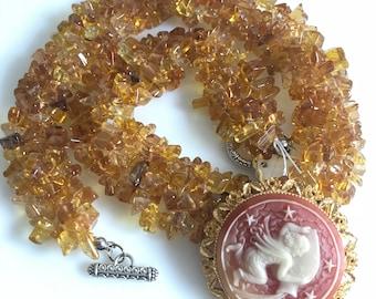 VINTAGE CETRINE NECKLACE / yellow,  gemstones , cameo