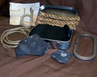 English Flint and Steel Fire Starting kit with hinged tin box