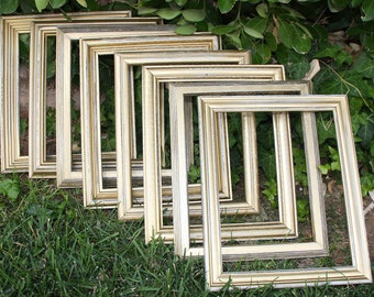 Champagne Gold Frame Set Metallic 18 - 5x7 Vintage Frames Hand Painted & Distressed