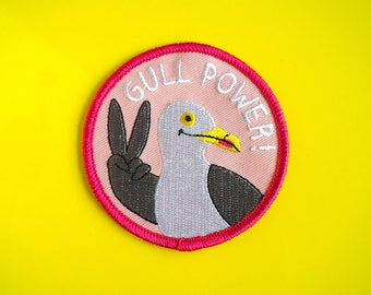 Girl Power Patch, Gull Power, Feminist Patch, Iron On Patch, Jacket Patch, Seagull Patch, Spice Girls Patch, Embroidered Patch, Cute Patches