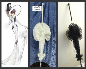 """WALKING STICK"""" PARASOL Umbrella in the Style of My Fair Lady in Your Choice Color Lace, Extravagant Lace Ruffle, Long Handle Costume Wedding"""