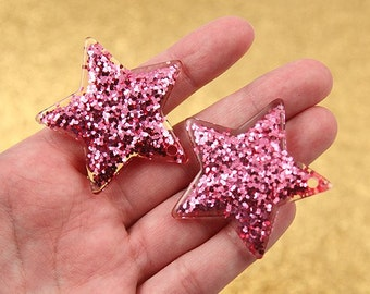 Resin Star Charms - 40mm Pink Glitter Stars Resin Charms - 4 pc set