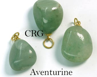 Tumbled GREEN AVENTURINE Pendant with Gold Bail (TU16DG)