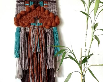 Woven Wall Hanging   Woven Fiber Art   Earth Tones Wall Hanging   Home Decor   Boho   Woven Tapestry   Weaving   Art