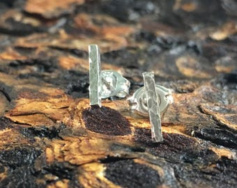 Tiny hammered sterling bar post earrings