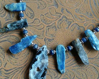 Kyanite, Sapphire, and Sterling Necklace and Earrings