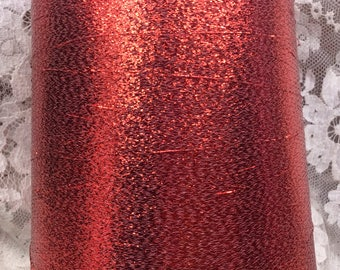 metallic coned yarn approx 30000 yds 1 lb plus red metallic machine knitting crafts altered art sweaters
