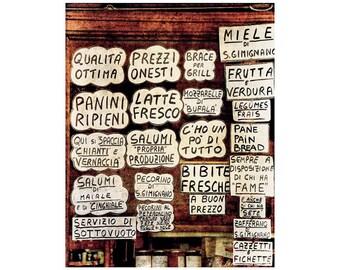 Italian Deli Photo, Kitchen Art, Tuscany Photography, Deli Sign, Italy, Food Photography
