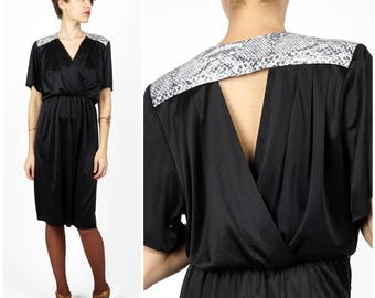 Vintage 1980s Black Stretch Dress with Snake Skin Details and Deep V Draped Back by Ricardo | Small