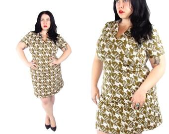 Plus Size Dress / Vintage 1960's Dress Gold Houndstooth Mod Dress / Size XL / Vintage Dress