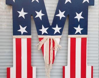 Flag Letter, 4th of July, American Flag Initial, Front Door Hanger, Red, White and Blue, Stars and Stripes, Monogram