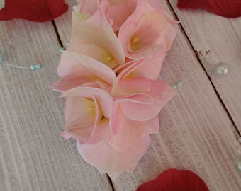 Hairpin with gently pink flowers hydrangeas Barrette flower Hair accessories Pink flower Bridal jewelry Gift for her Pink barrette