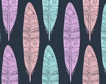 Tribal Feather Fabric - Cotton, Swim, Bamboo, Knit, Terry, Fleece, Satin