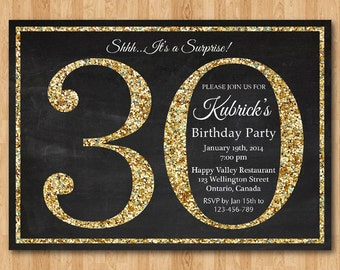 30th birthday invitation blue glitter birthday party invite 30th birthday invitation gold glitter birthday party invite adult surprise birthday elegant filmwisefo Gallery