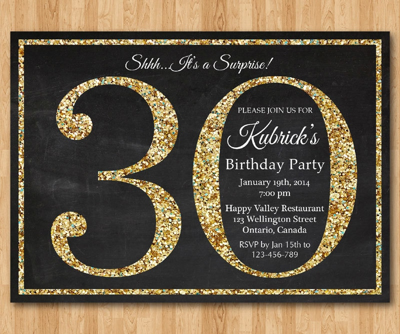 30th Birthday Invitation Gold Glitter Party Invite