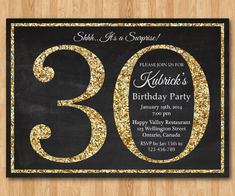 30th birthday invitation. Gold Glitter Birthday Party invite.