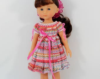 Knitted dress  for Corolle les cheries dolls. Clothes for dolls. Knitted outfit for doll.