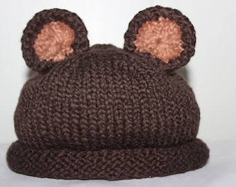 9 - 12 Month Size Organic Cotton Hand Knit Chocolate Brown Teddy Bear Hat