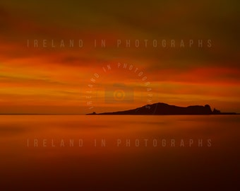 Sunrise on the Island . Ireland's eye Howth .  Fine art photograph. Wall Art. Wall Decor . Beach House art.