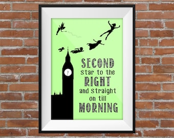 Second Star To The Right And Straight On Till Morning-  Peter Pan Quote (Clock And Green BG) -  Printable Wall Art Typography Digital Print