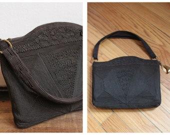 1940s Purse // Dark Brown Cordé Purse // vintage 40s purse