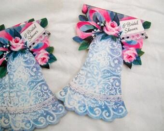 SALE Bridal Shower Invitations (set of 6) / Vintage Hallmark Wedding Bell shower invitation cards / fill in the blank shower invites