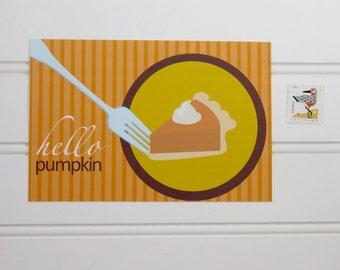 Pumpkin Pie Postcard, Postcrossing Postcard, Thanksgiving Postcard, Pumpkin Pie Card, Custom Postcard, Personalized Postcard, Holiday Card