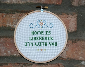 """Edward Sharpe and the Magnetic Zeros Cross Stitch Lyrics- """"Home"""" from Up From Below"""