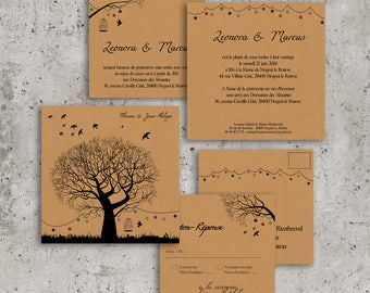 Wedding invitations Kraft double