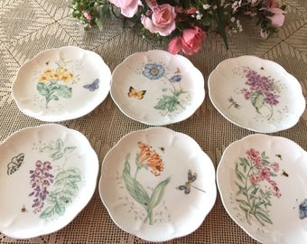 Lot of (6) LENOX Butterfly Meadow SALAD PLATES ~ All Different