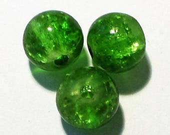 3 Green 8mm - VCR116 Crackle Glass round beads